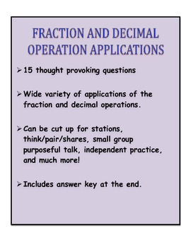 Fraction and Decimal Operation Application Practice