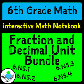 Fraction and Decimal Operations Bundle for Interactive Notebook 6th Grade Math