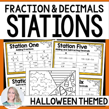 Fraction and Decimal Operations : Editable Middle School Math Stations