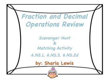 Fraction and Decimal Operations Scavenger Hunt and Matching