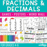 Fractions and Decimals   Game, Posters, Word Wall