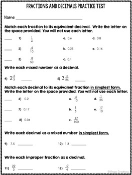 Fraction and Decimal Practice Test and Assessment