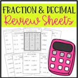 Fraction and Decimal Review Sheets