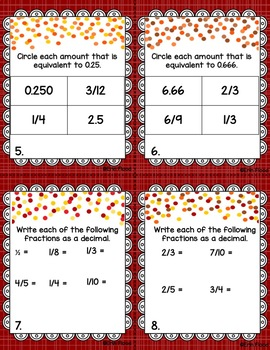 Fraction and Decimal Task Cards