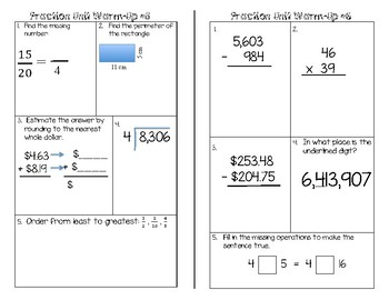 Fraction and Decimal Unit Daily Warm-Ups