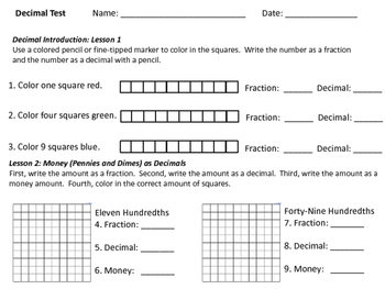 Fraction and Decimal Unit- Worksheets