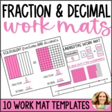 Modeling Fractions and Decimals Math Work Mats   Tenths and Hundredths