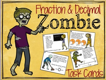 Fractions to Decimal: Word Problems (Halloween Math) Zombie Theme