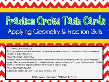 Fraction and Geometry Task Card Set:  Fractions of a Circle Task Cards