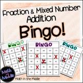 Fraction and Mixed Number Addition Math Bingo - Math Review Game