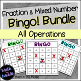 Fraction and Mixed Number Math Bingo Math Review Games Bundle - all operations!
