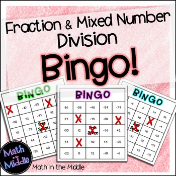 Dividing Fractions and Mixed Numbers Math Bingo - Math Review Game