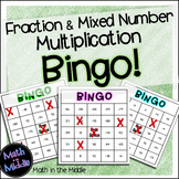Fraction and Mixed Number Multiplication Math Bingo - Math Review Game