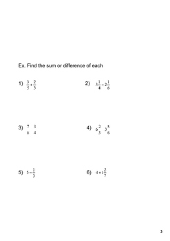 Fraction and Mixed Number Operations