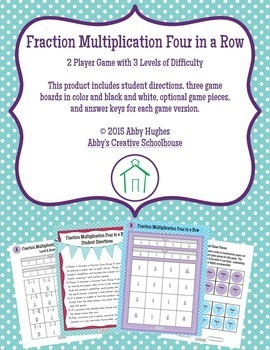 Fraction and Mixed Number Operations 4 in a Row Differentiated Game BUNDLE
