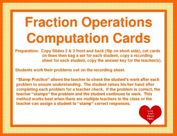 Fraction and Mixed Number Operations Computation Cards
