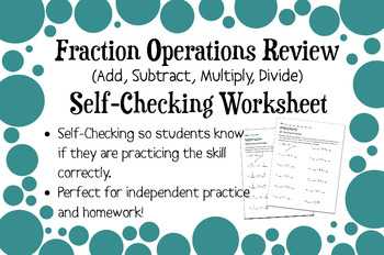 Fraction and Mixed Numbers All Operations Review Self-Checking Worksheet