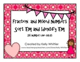Fraction and Mixed Numbers on Number Lines - Identify and Sort - Pink