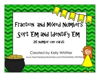 Fraction and Mixed Numbers on Number Lines - Identify and Sort - Green