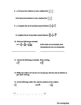 Fraction and Percent Practice Worksheet