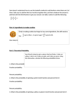 Fraction and Probability Great Worksheet