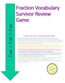 Fraction and Rational Number Vocabulary Survivor Review Game