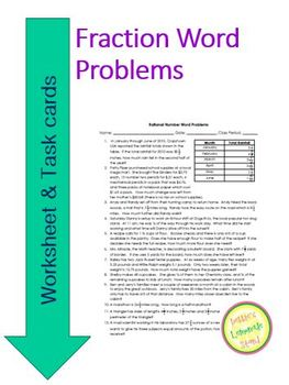 Fraction and Rational Number Word Problems Worksheet & Task Cards