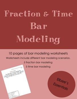 Fraction and Time Bar Modeling Worksheets