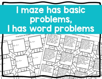Fraction as Division Maze Activity with Word Problems