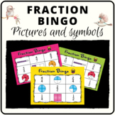 Fraction bingo game class set covering pictures and symbols