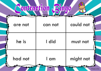 Contraction bingo game class set ideal for review