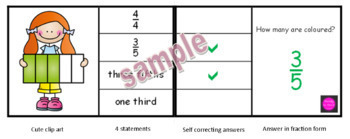 Fraction task cards pictures and shapes