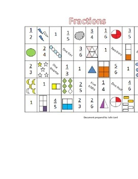 Fraction game in english and français