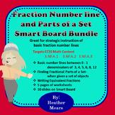 Fraction number line and parts of a set Bundle smartboard lesson & worksheets