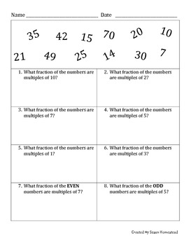 Fraction of Multiples, Prime, & Composite Worksheets CCSS 4.OA.B.4