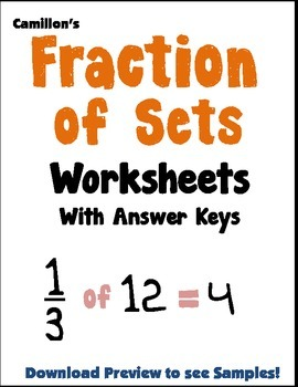 Fractions Of Setets Math 3rd Grade Fraction As Part For A Set ...