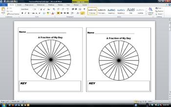 Fraction of a Day Flip Book - How do you spend your day? Pie Chart Analysis