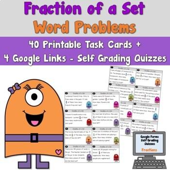 Fraction of a Set Problem Solving Task Cards
