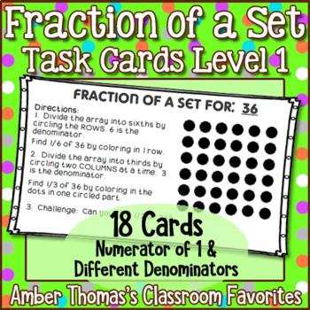 Fraction of a Set Task Cards Set 1