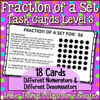 Fraction of a Set Task Cards Set 3