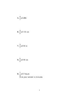 Fraction of an amount (non-calculator)  2