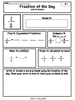 Fraction of the Day NF Common Core