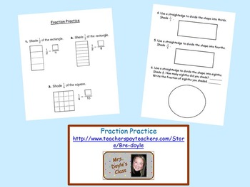 Fraction practice worksheet