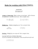 Fraction rules notes outline cheat sheet examples referenc