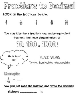 Fraction to Decimal 10,100, 1000