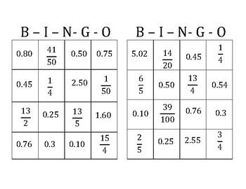 Fraction to Decimal Bingo
