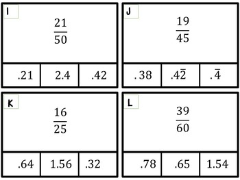 Fraction to Decimal Conversion Clip Card Activity--2 Differentiated Versions