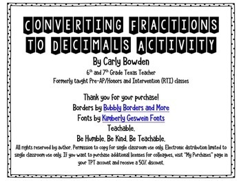 Converting Fractions to Decimals (Generating Equivalent Forms / 6.4G)