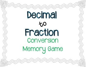 Fraction to Decimal Conversion Memory Game