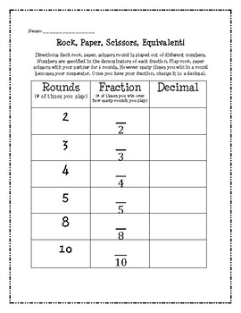 Fraction to Decimal Conversion Rock, Paper, Scissors Game